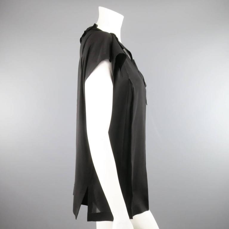 ISSEY MIYAKE Size L Black Asymmetrical Pleated Chiffon Blouse For Sale 1