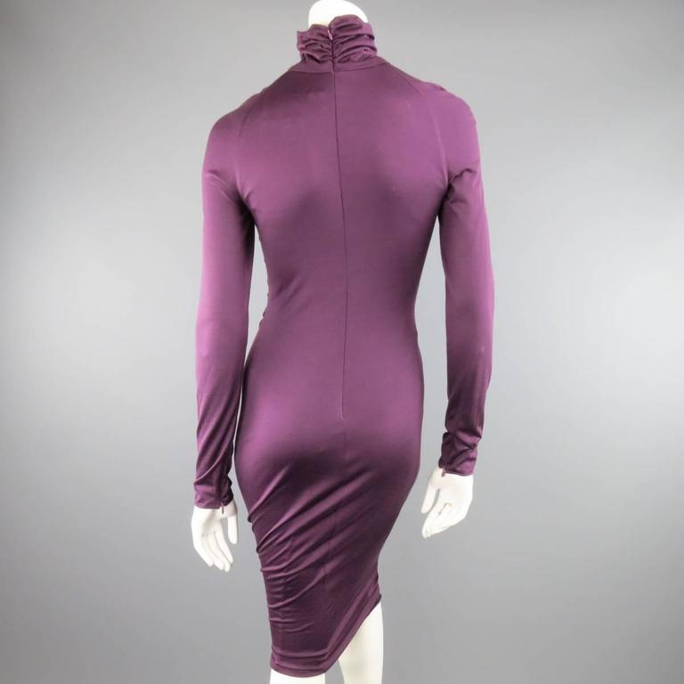GIAMBATTISTA VALLI Size XS Violet Purple Draped Turtleneck Bodycon Midi Dress 6