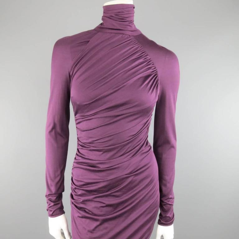GIAMBATTISTA VALLI Size XS Violet Purple Draped Turtleneck Bodycon Midi Dress 2