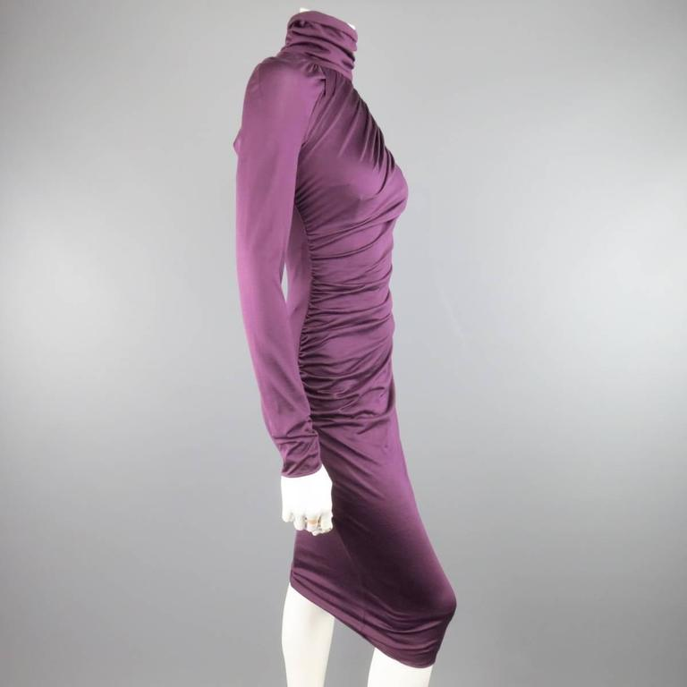 GIAMBATTISTA VALLI Size XS Violet Purple Draped Turtleneck Bodycon Midi Dress 4