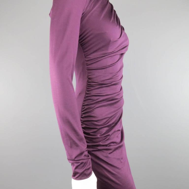 GIAMBATTISTA VALLI Size XS Violet Purple Draped Turtleneck Bodycon Midi Dress 5