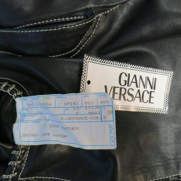 GIANNI VERSACE Jean 2 Black & Silver Contrast Stitch Leather Chain Piping For Sale 5