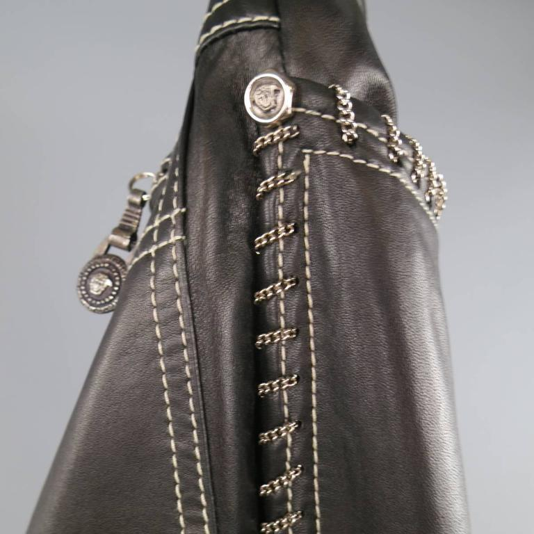 GIANNI VERSACE Jean 2 Black & Silver Contrast Stitch Leather Chain Piping For Sale 1