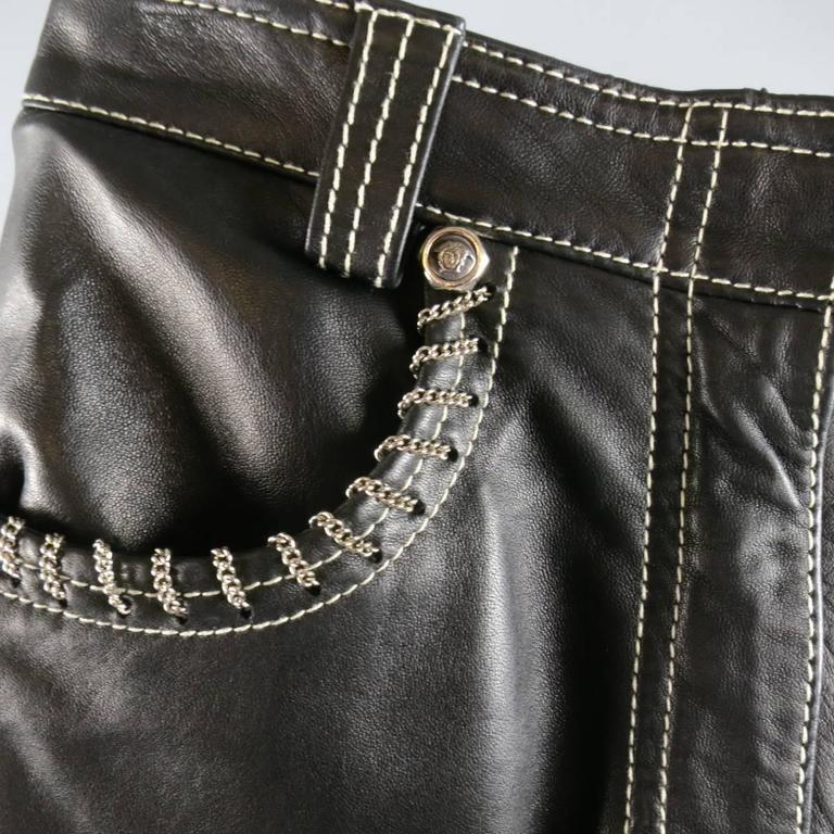 GIANNI VERSACE Jean 2 Black & Silver Contrast Stitch Leather Chain Piping In Excellent Condition For Sale In San Francisco, CA