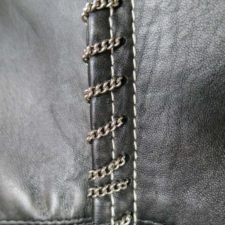 Women's GIANNI VERSACE Jean 2 Black & Silver Contrast Stitch Leather Chain Piping For Sale