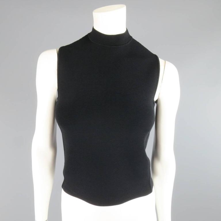 RALPH LAUREN Collection Size S Black Ribbed Mock Neck Bandage Crop Top 2