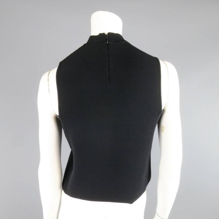RALPH LAUREN Collection Size S Black Ribbed Mock Neck Bandage Crop Top 4