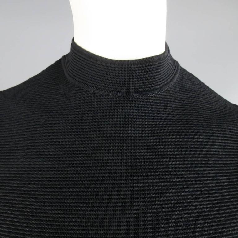 RALPH LAUREN Collection Size S Black Ribbed Mock Neck Bandage Crop Top 3