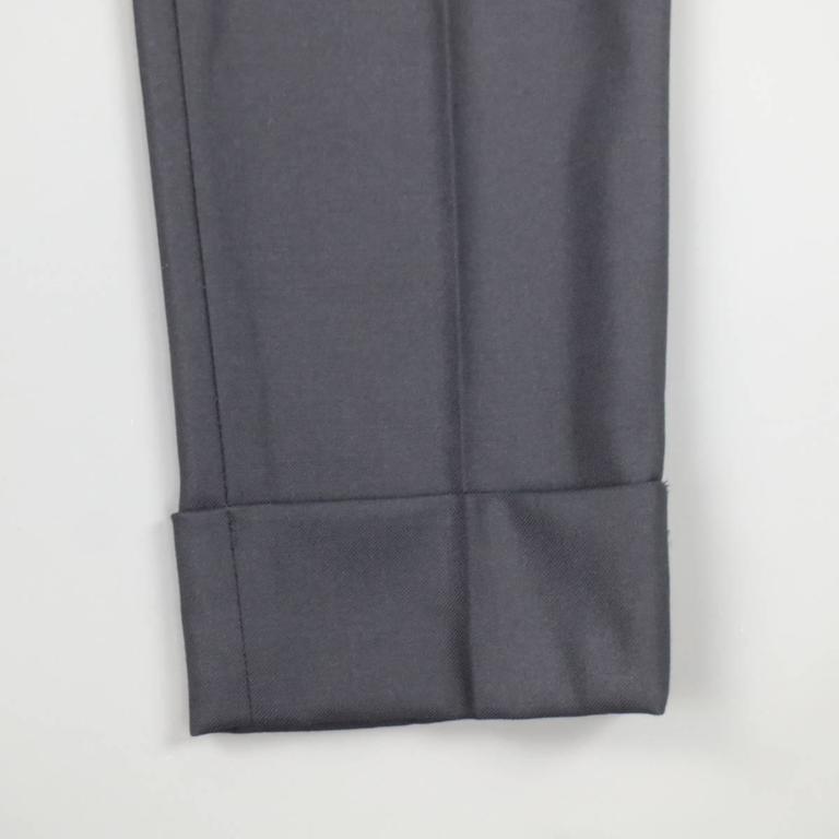 THE ROW Size 0 Navy Virgin Wool Slim Leg Cuffed Dress Pants 2