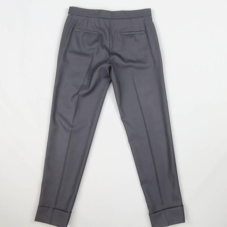 THE ROW Size 0 Navy Virgin Wool Slim Leg Cuffed Dress Pants 3