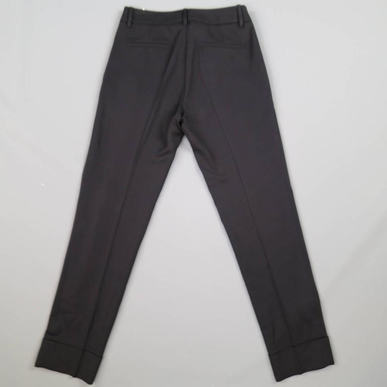 GUCCI Size 0 Black Viscose Blend Gaberdine Cudffed Dress Pants 3
