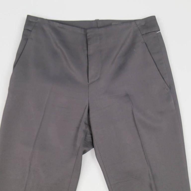 GUCCI Size 0 Black Viscose Blend Gaberdine Cudffed Dress Pants 2