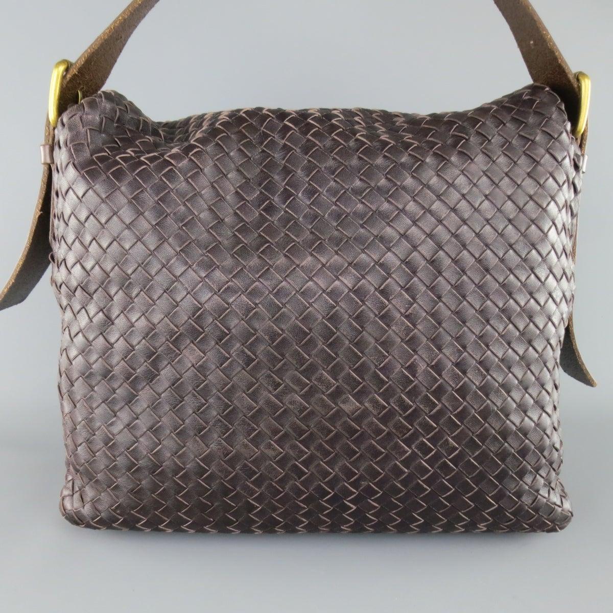 1036246ae3 BOTTEGA VENETA Bag Eggplant Intrecciato Woven Leather Brown Belt Strap  Messenger at 1stdibs