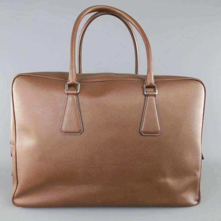 PRADA Light Brown Saffiano Leather Silver Lock Briefcase In Fair Condition For Sale In San Francisco, CA