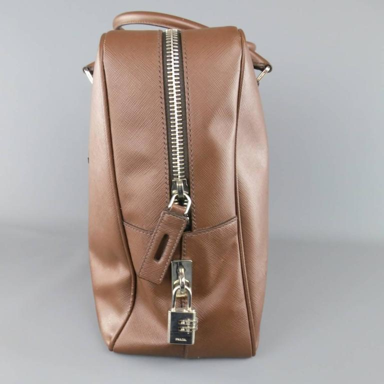Women's or Men's PRADA Light Brown Saffiano Leather Silver Lock Briefcase For Sale