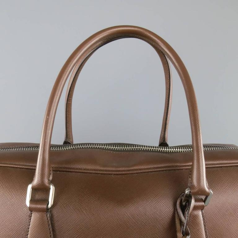 PRADA Light Brown Saffiano Leather Silver Lock Briefcase For Sale 3