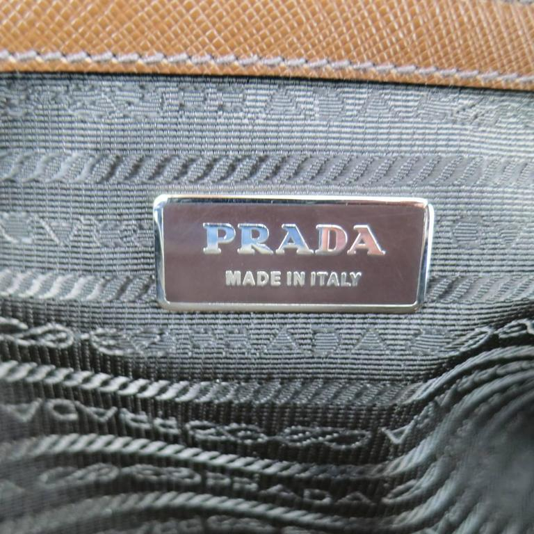 PRADA Light Brown Saffiano Leather Silver Lock Briefcase For Sale 6