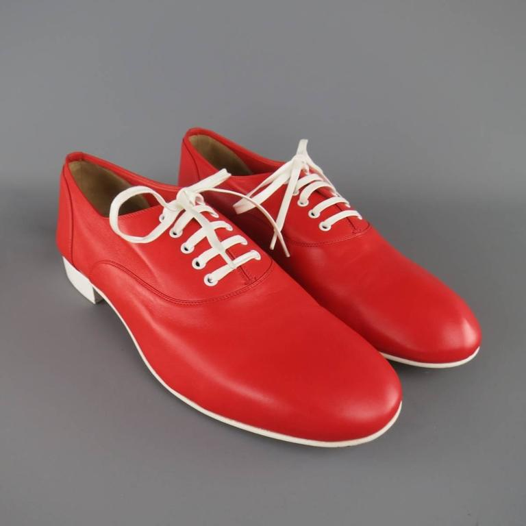 Men's CHRISTIAN LOUBOUTIN Size 9 Red & White Leather ALFRED FLAT Lace Up 2