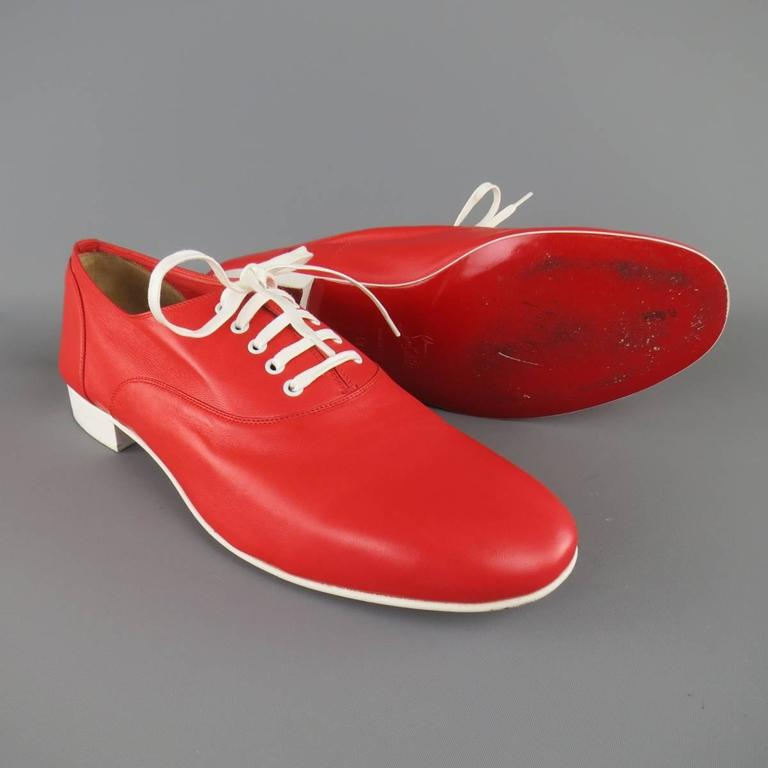 Men's CHRISTIAN LOUBOUTIN Size 9 Red & White Leather ALFRED FLAT Lace Up 3