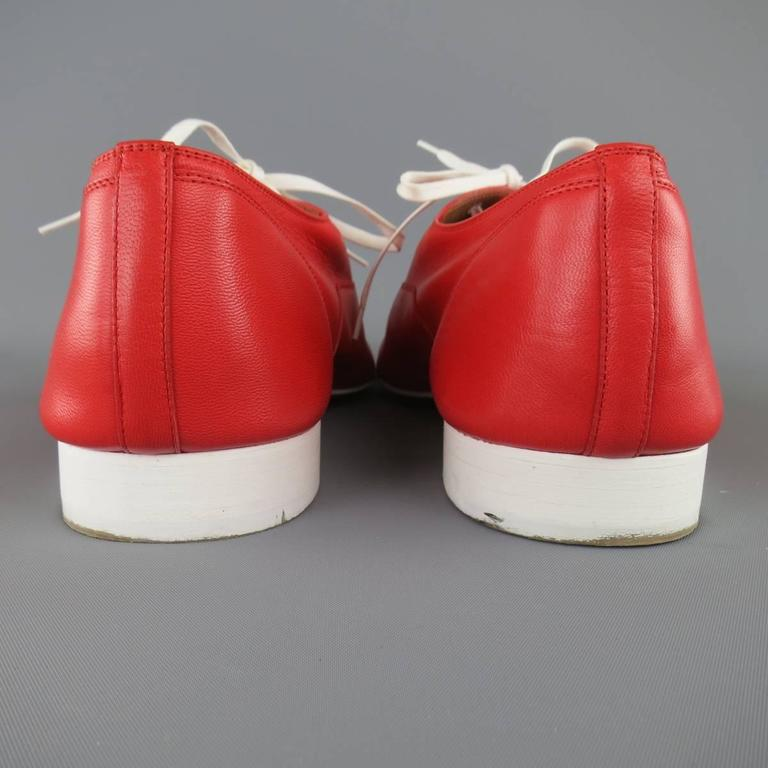 Men's CHRISTIAN LOUBOUTIN Size 9 Red & White Leather ALFRED FLAT Lace Up 5