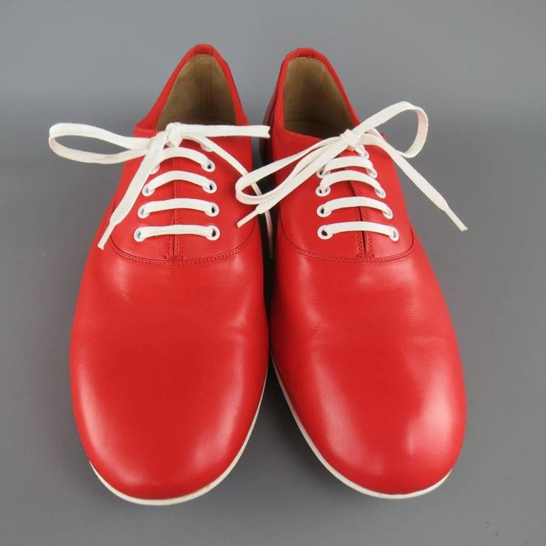Men's CHRISTIAN LOUBOUTIN Size 9 Red & White Leather ALFRED FLAT Lace Up 4