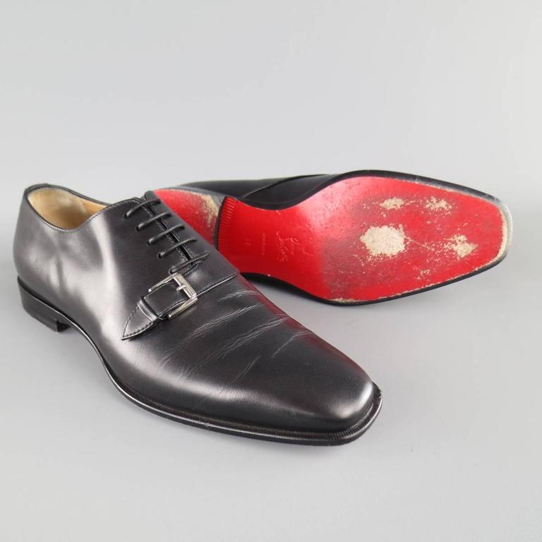 Men's CHRISTIAN LOUBOUTIN Size 9 Black Leather CAPRI FLAT Monk Strap Lace Up For Sale 2