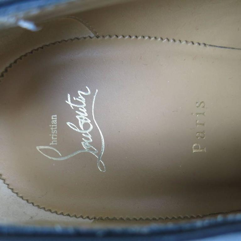 Men's CHRISTIAN LOUBOUTIN Size 9 Black Leather CAPRI FLAT Monk Strap Lace Up For Sale 5