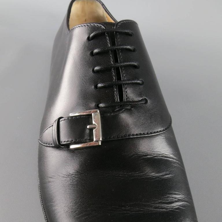 Men's CHRISTIAN LOUBOUTIN Size 9 Black Leather CAPRI FLAT Monk Strap Lace Up For Sale 1