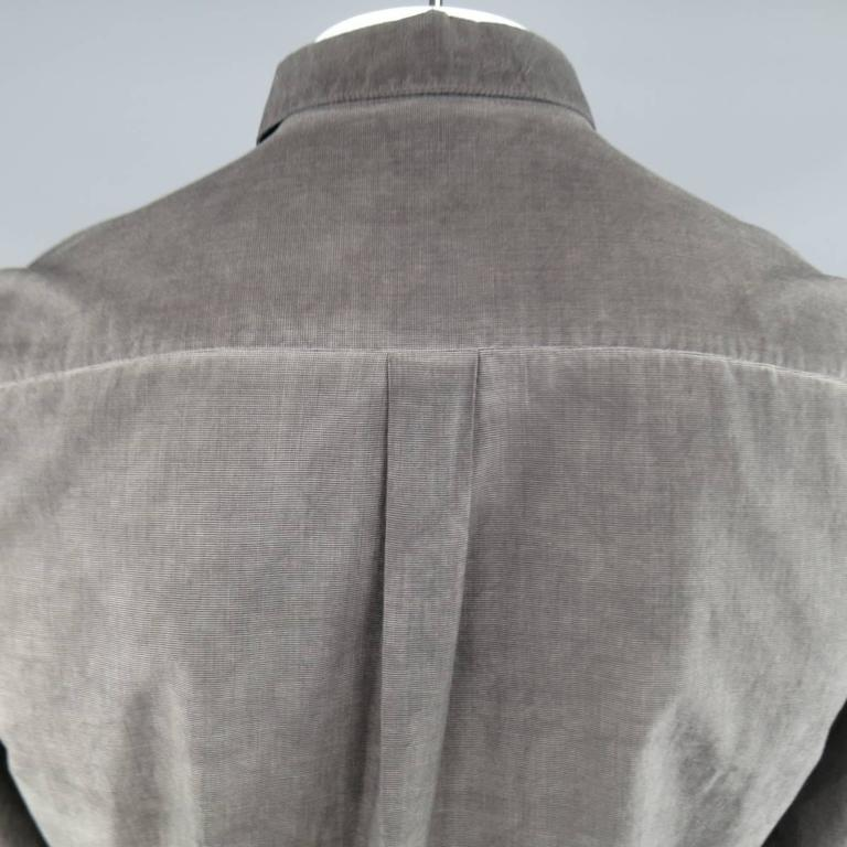 FORME 3'3204322896 Shirt - Smalll Charcoal Washed Dyed Cotton Long Sleeve In Excellent Condition For Sale In San Francisco, CA