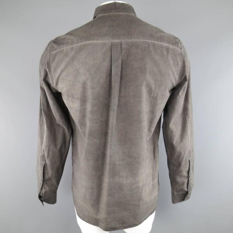 Gray FORME 3'3204322896 Shirt - Smalll Charcoal Washed Dyed Cotton Long Sleeve For Sale
