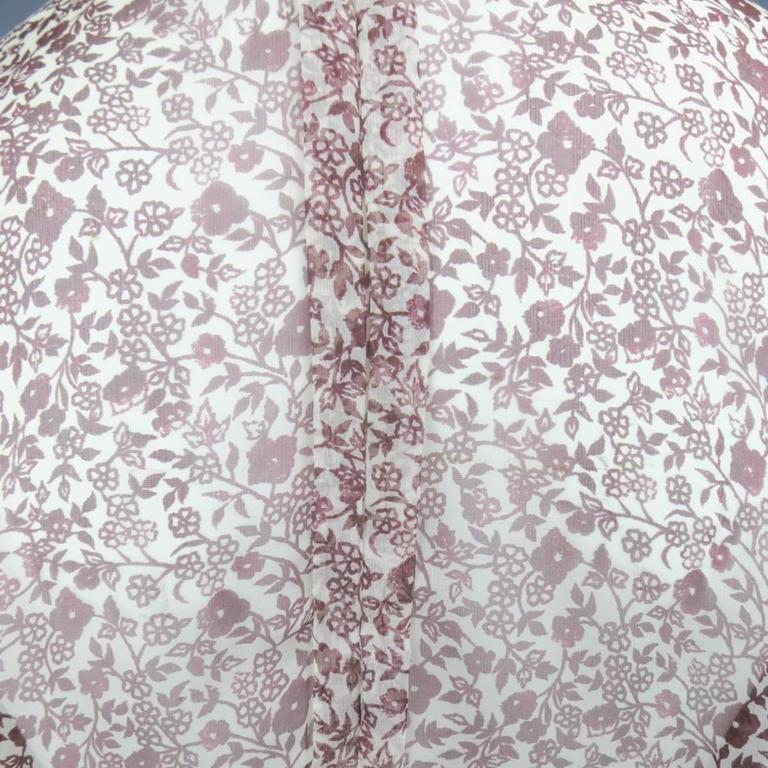 OSCAR DE LA RENTA Size 6 Brown Floral Silk Lace Ruffle Cuff Blouse For Sale 4