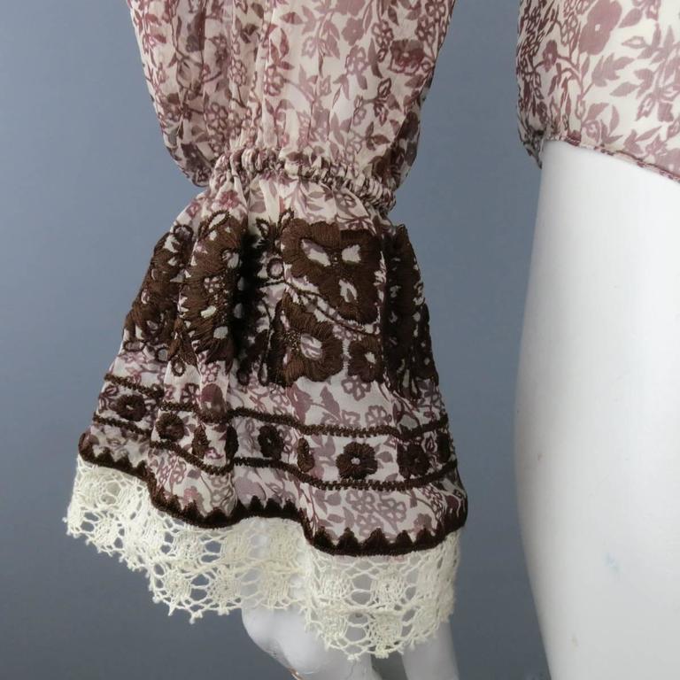 OSCAR DE LA RENTA Size 6 Brown Floral Silk Lace Ruffle Cuff Blouse In Good Condition For Sale In San Francisco, CA