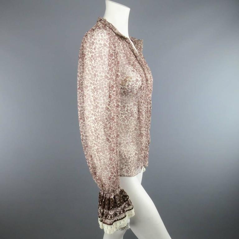 Women's OSCAR DE LA RENTA Size 6 Brown Floral Silk Lace Ruffle Cuff Blouse For Sale