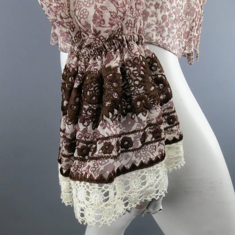 OSCAR DE LA RENTA Size 6 Brown Floral Silk Lace Ruffle Cuff Blouse For Sale 1