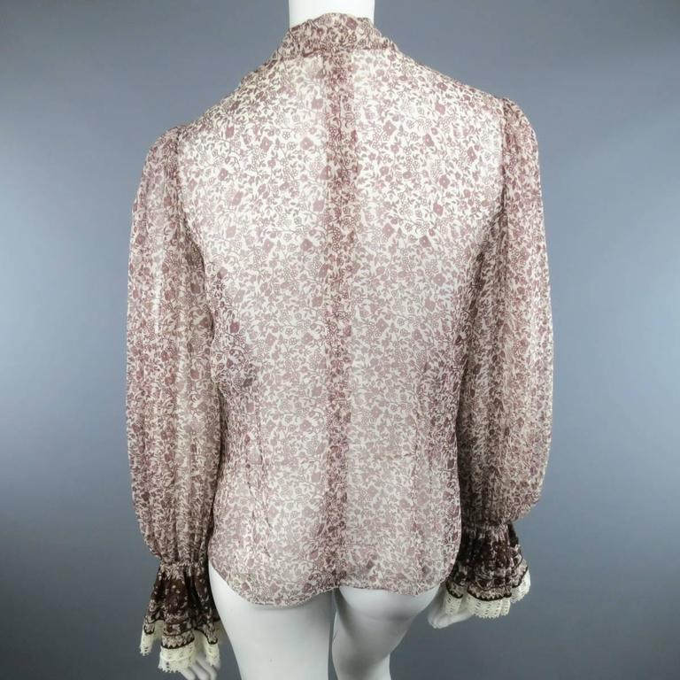 OSCAR DE LA RENTA Size 6 Brown Floral Silk Lace Ruffle Cuff Blouse For Sale 2