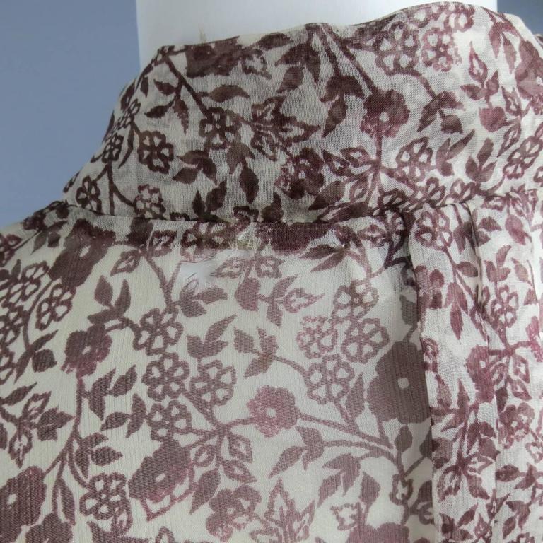 OSCAR DE LA RENTA Size 6 Brown Floral Silk Lace Ruffle Cuff Blouse For Sale 3