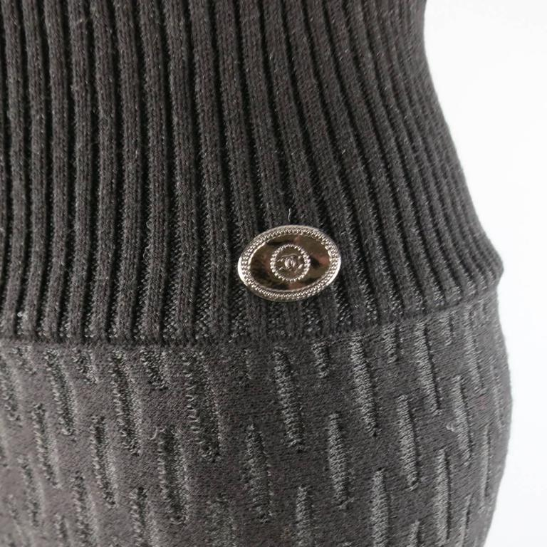 Chanel Size 6 Black Sheer Net Pattern Knit Balloon Harem