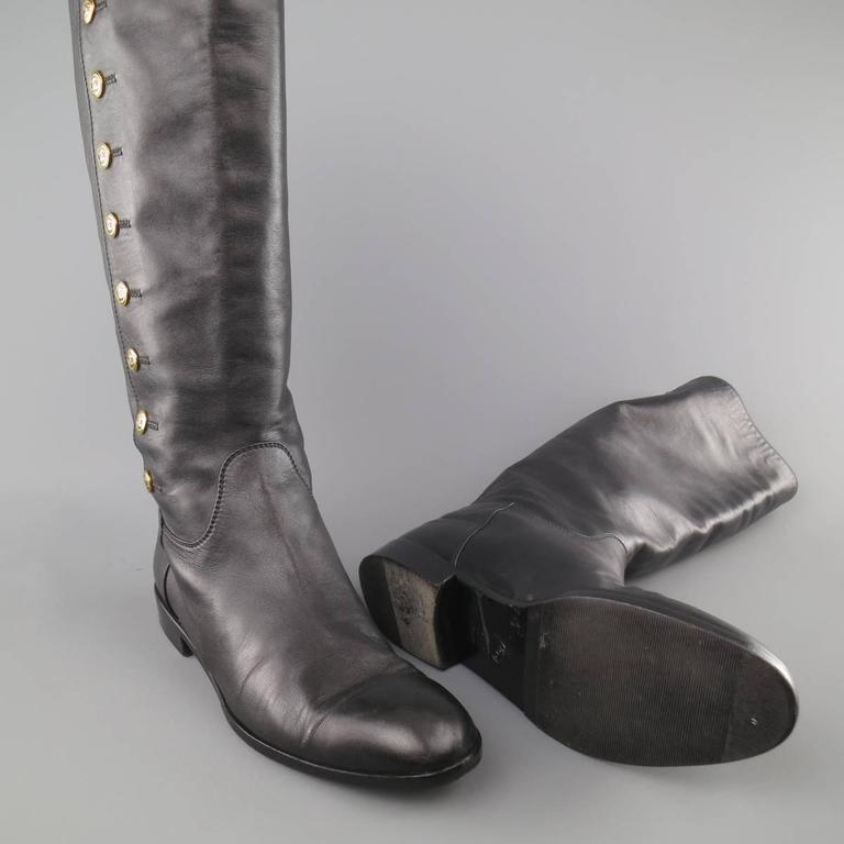 Vintage CHANEL Size 11 Black Leather Knee High Gold Button Boots In Fair Condition For Sale In San Francisco, CA