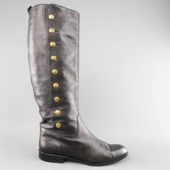 Vintage CHANEL Size 11 Black Leather Knee High Gold Button Boots