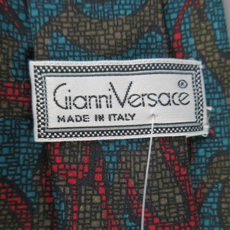 Vintage 1980s GIANNI VERSACE Tie -  Olive Red & Blue Abstract Print Silk In Excellent Condition For Sale In San Francisco, CA