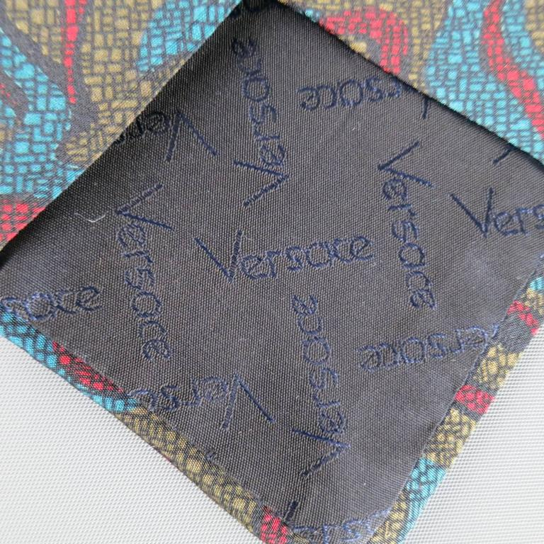 Women's or Men's Vintage 1980s GIANNI VERSACE Tie -  Olive Red & Blue Abstract Print Silk For Sale