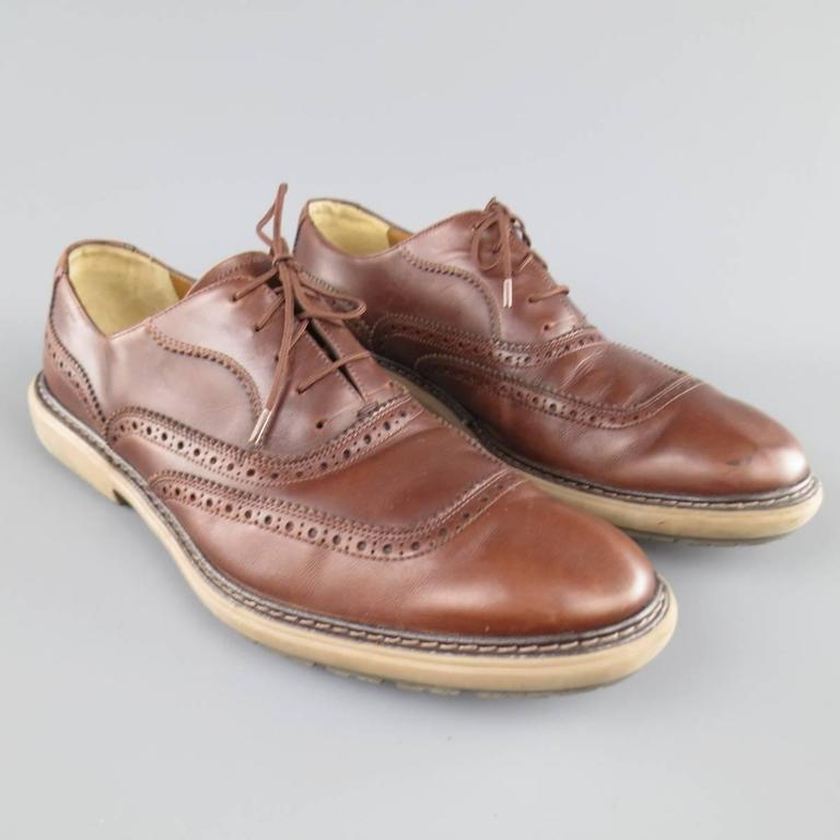SALVATORE FERRAGAMO Size 11 Brown Perforated Leather Rubber Sole Lace Up Brogues In Fair Condition For Sale In San Francisco, CA