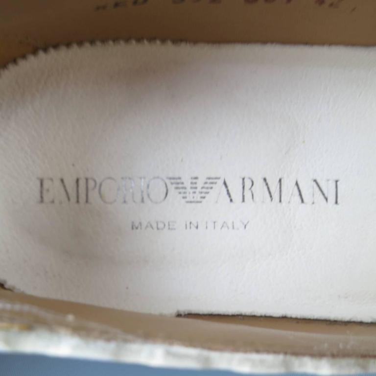 Men's EMPORIO ARMANI Size 9 Off White Leather Scalloped Loafers For Sale 5