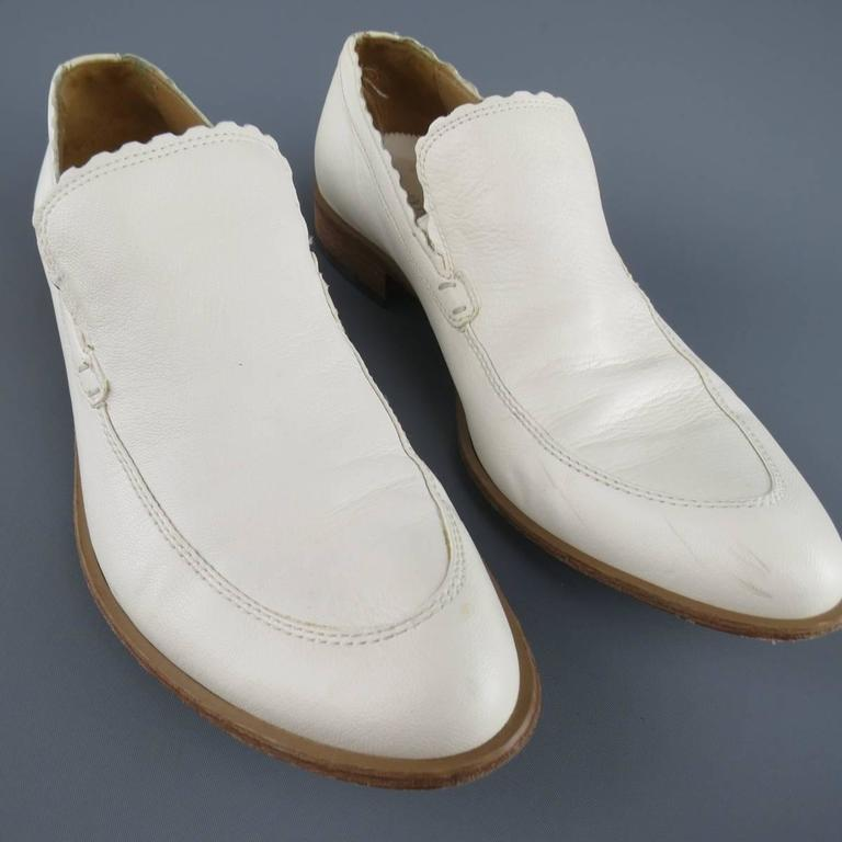 Men's EMPORIO ARMANI Size 9 Off White Leather Scalloped Loafers For Sale 2
