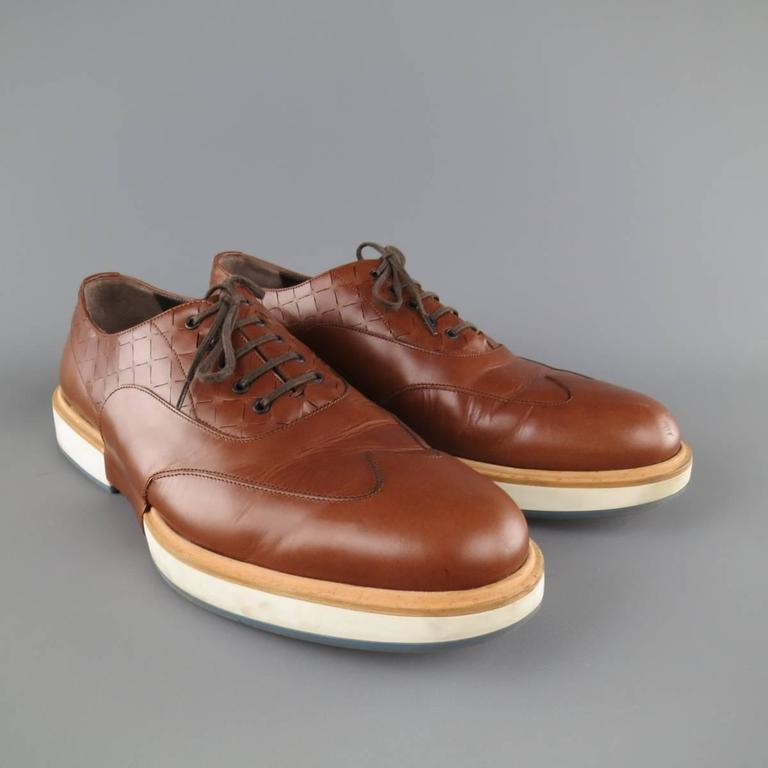 Men's SALVATORE FERRAGAMO Size 11 Tan Solid Leather Wingtip Rubber Sole Lace Up 5