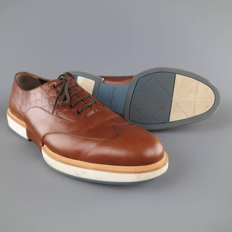 Men's SALVATORE FERRAGAMO Size 11 Tan Solid Leather Wingtip Rubber Sole Lace Up 6