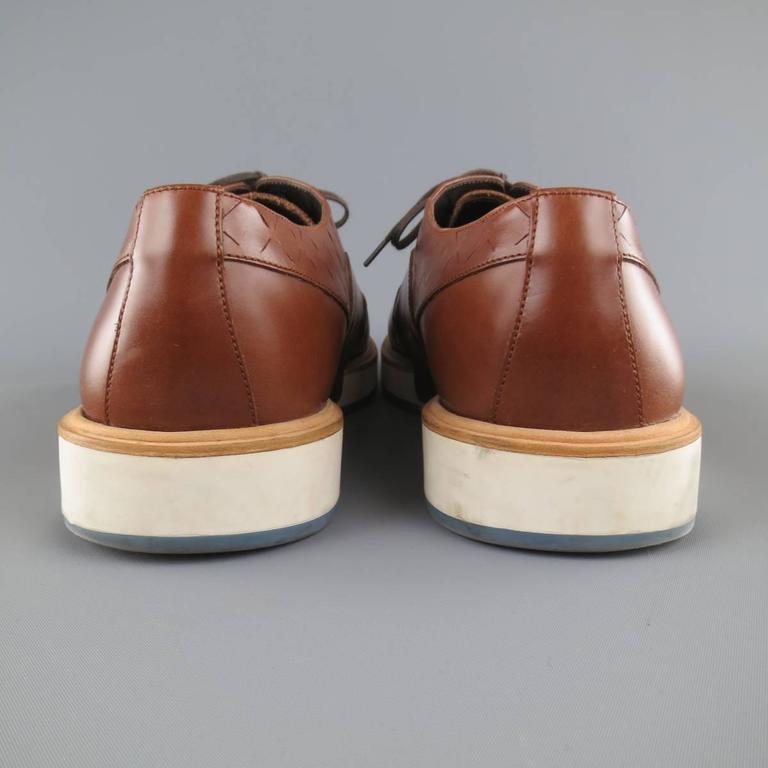 Men's SALVATORE FERRAGAMO Size 11 Tan Solid Leather Wingtip Rubber Sole Lace Up 7