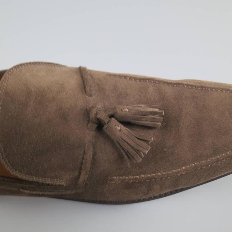 b970c82d754 Brown Men s SALVATORE FERRAGAMO Size 11 Taupe Suede Tassel Loafers For Sale