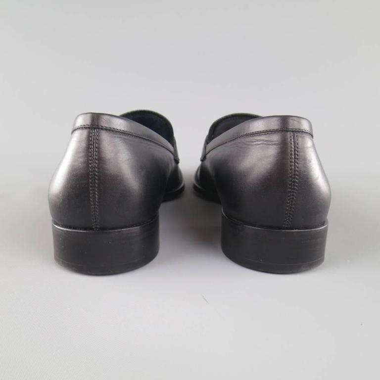 Men's SALVATORE FERRAGAMO Size 11 Black Leather Double Gancini Horsebit Loafers 6