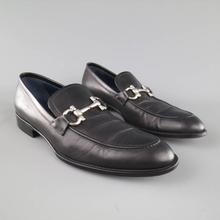 Men's SALVATORE FERRAGAMO Size 11 Black Leather Double Gancini Horsebit Loafers For Sale 1